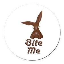 Bite Me Easter Chocolate Bunny Round Car Magnet