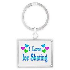 I Love Ice Skating Landscape Keychain