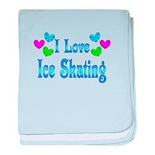 I Love Ice Skating baby blanket