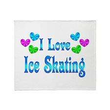 I Love Ice Skating Throw Blanket