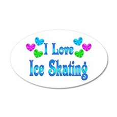 I Love Ice Skating 35x21 Oval Wall Decal