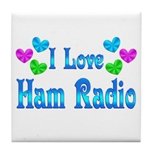 I Love Ham Radio Tile Coaster