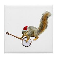 Christmas Banjo Squirrel Tile Coaster