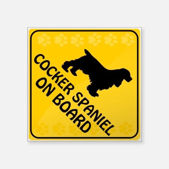 """Cocker Spaniel On Board Square Sticker 3"""" x 3"""""""