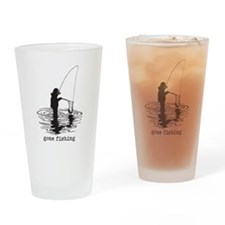 Personalized Gone Fishing Drinking Glass