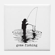 Personalized Gone Fishing Tile Coaster