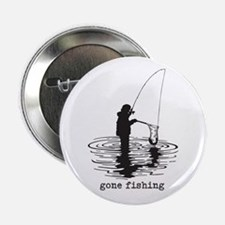 "Personalized Gone Fishing 2.25"" Button (10 pack)"