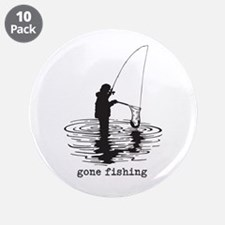 """Personalized Gone Fishing 3.5"""" Button (10 pack)"""