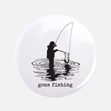 """Personalized Gone Fishing 3.5"""" Button (100 pack)"""
