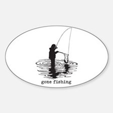 Personalized Gone Fishing Sticker (Oval)