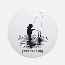 Personalized Gone Fishing Ornament (Round)