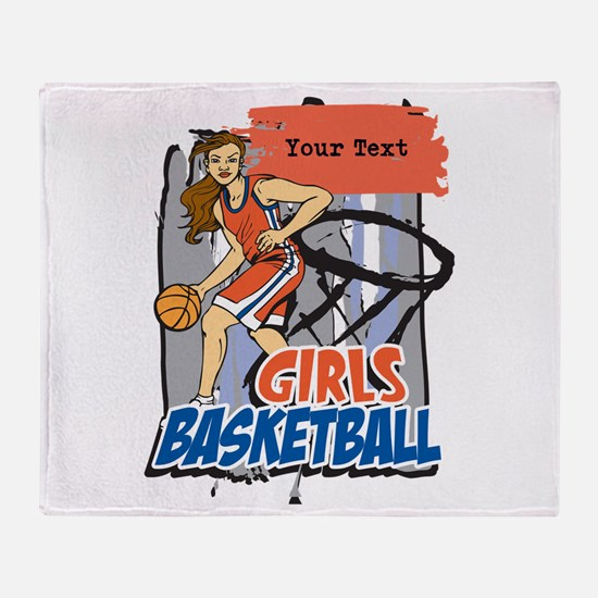 Personalized Girls Basketball Throw Blanket