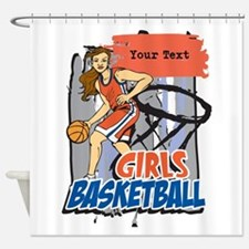 Personalized Girls Basketball Shower Curtain