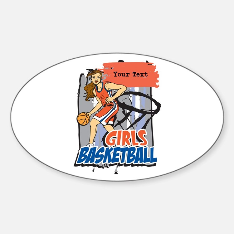 Personalized Girls Basketball Sticker (Oval)