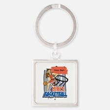Personalized Girls Basketball Square Keychain