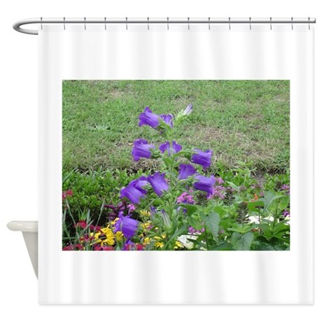 purple flowers shower curtain by chasingthegnome
