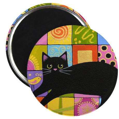 Black CAT On ART Quilt Folk Art Magnet