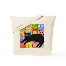 Black CAT On ART Quilt Tote Bag