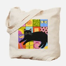 Black CAT On ART Quilt Tote Bag