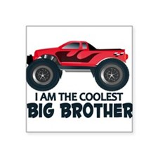"Coolest Big Brother - Truck Square Sticker 3"" x 3"""