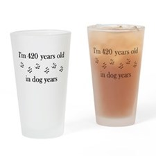 60 dog years 4-1 Drinking Glass