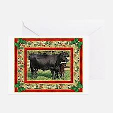 Black Angus Cow Calf Christmas Card Greeting Cards