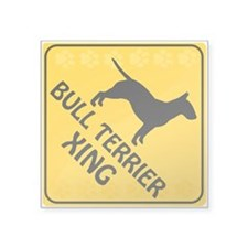 "Bull Terrier Xing Square Sticker 3"" x 3"""