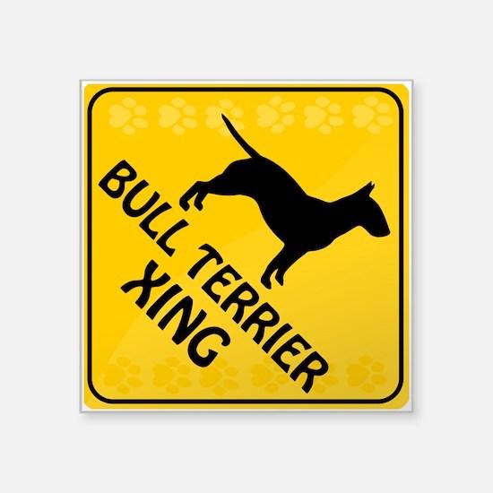 "Bull Terrier Xing Square Sticker 3"" x 3"""