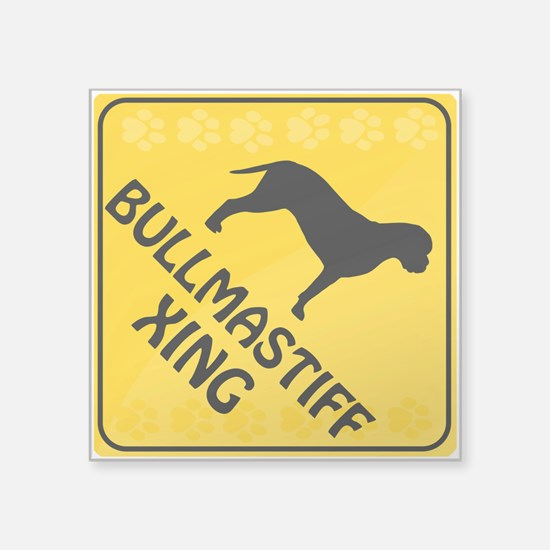 "Bullmastiff Xing Square Sticker 3"" x 3"""
