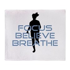 Blue Focus Believe Breathe Throw Blanket