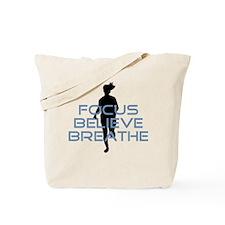 Blue Focus Believe Breathe Tote Bag