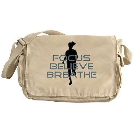 Blue Focus Believe Breathe Messenger Bag