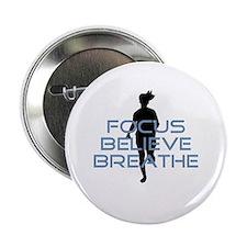 """Blue Focus Believe Breathe 2.25"""" Button"""