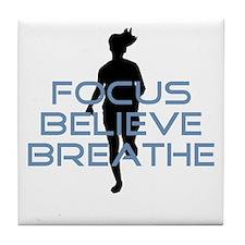 Blue Focus Believe Breathe Tile Coaster