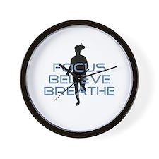 Blue Focus Believe Breathe Wall Clock