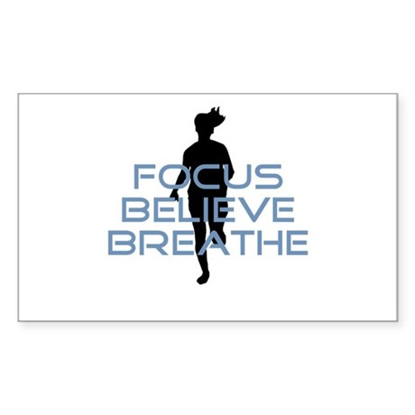 Blue Focus Believe Breathe Sticker (Rectangle)