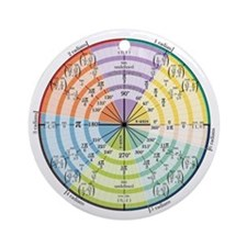 Unit Circle with Radians Ornament (Round)