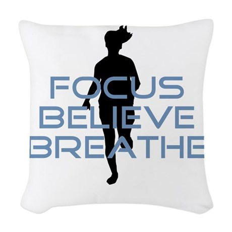 Blue Focus Believe Breathe Woven Throw Pillow