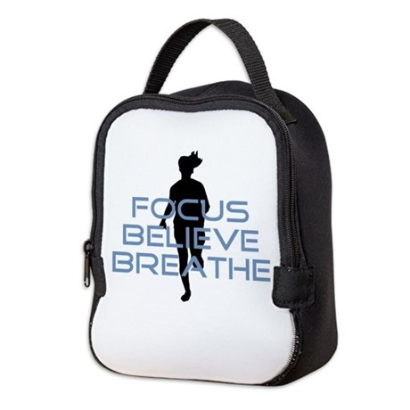 Blue Focus Believe Breathe Neoprene Lunch Bag