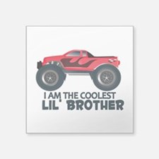 "Coolest Lil' Brother Truck Square Sticker 3"" x 3"""