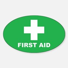 First Aid (W/G) Sticker (Oval)