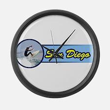 San Diego Surf Beach Large Wall Clock