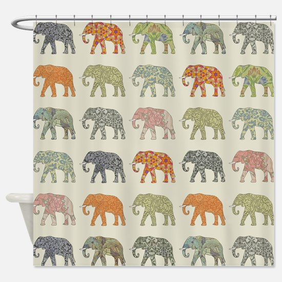 Elephant Colorful Repeating Pattern Shower Curtain