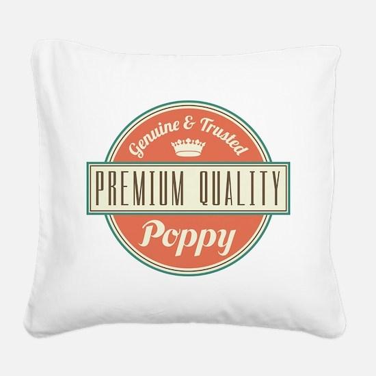 Vintage Poppy Square Canvas Pillow