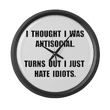 Antisocial Idiots Large Wall Clock