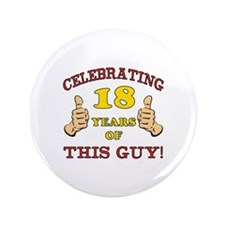 "Funny 18th Birthday For Boys 3.5"" Button (100 pack"