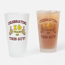 Funny 16th Birthday For Boys Drinking Glass