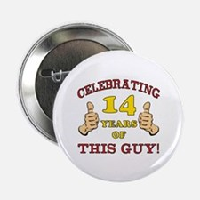 """Funny 14th Birthday For Boys 2.25"""" Button"""