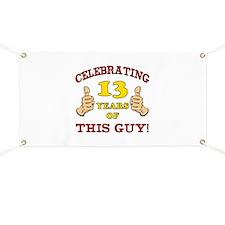 Funny 13th Birthday For Boys Banner