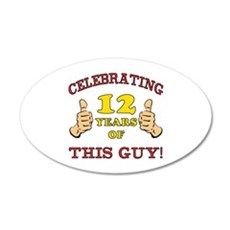 Funny 12th Birthday For Boys 20x12 Oval Wall Decal
